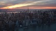 Famous skyscrapers during sunset in the Midtown Manhattan. New York City. United States, North America. Shot from a helicopter.