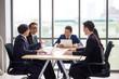 gruop of business people in seminar or meeting