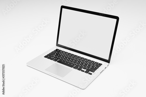 Photo Laptop computer with blank white screen isolate on white background