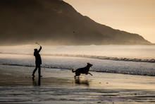 Silhouette Of Man And Dog On
