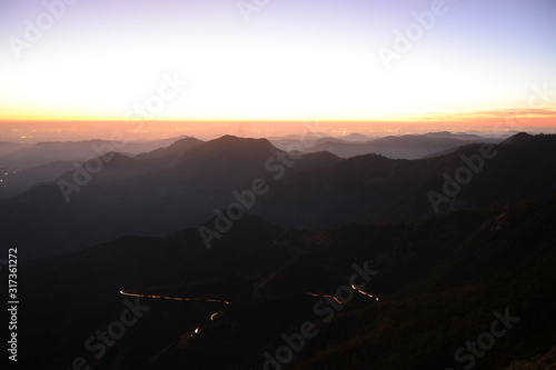 Beautiful view from the top of Moro Rock during the sunset in Sequoia National Park, CA, USA