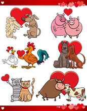 Valentine Cartoon Illustration Love Set With Animals
