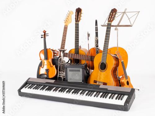 musical instruments in white background © xavier gallego morel