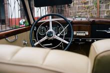 View Of Black Metal Steering W...