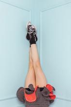 Legs Of A Teenage Girl Upside ...