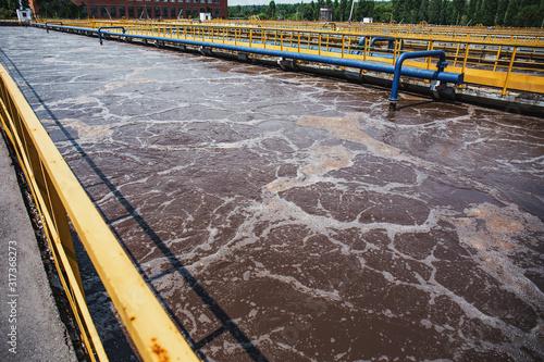Valokuva Modern wastewater and sewage treatment plant with aeration tanks, close up