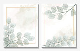 Beautiful background with leaves. Wedding invitation , watercolor, isolated on white.  Vector illustration. EPS 10