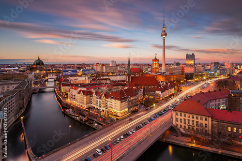 Aerial view of Berlin Alexanderplatz with the TV Tower at sunset Canvas Print