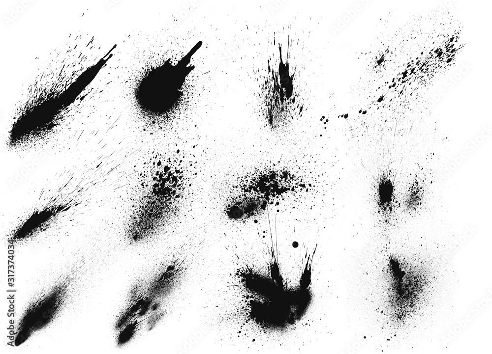 Fototapeta Set of black ink brushes. Black ink splatter brushes