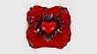 Rot Schwarz Weiss - Kunst Herz Blut Folie Skulptur - 3D - Illustration Textur Tapete Banner Webseite Hintergrund 4k