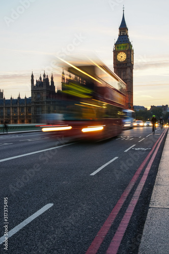 Double decker bus passing by Big Ben in London England United Kingdom UK Tablou Canvas