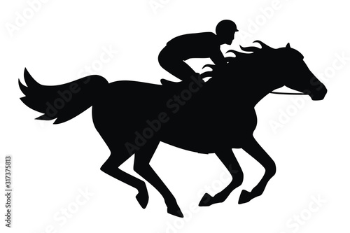 Fototapeta Horse race. Derby. Equestrian sport. Silhouette of racing horse with jockey on isolated background. Horse and rider. Racing horse and jockey silhouette.vector. obraz