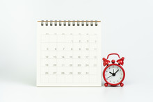 White Clean Calendar With Red ...
