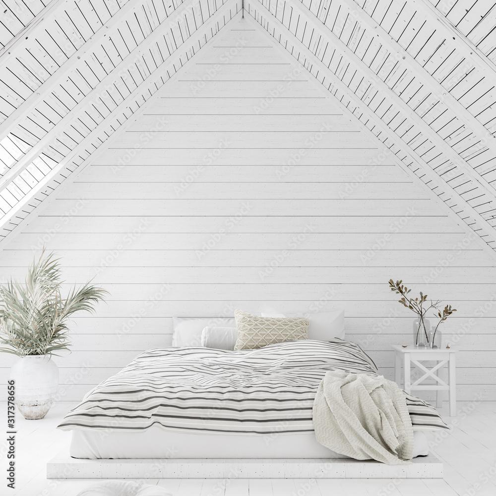 Fototapeta White bedroom interior in attic, 3d render