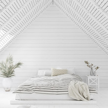 White Bedroom Interior In Atti...