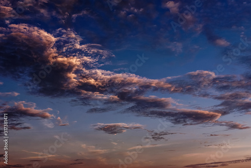 Magnificent altostratus and altocumulus cloud at sunset. Canvas Print