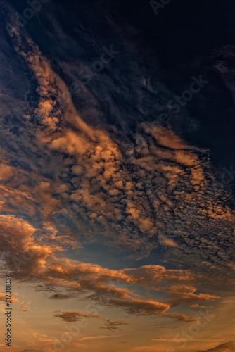 Magnificent altostratus cloud in magenta colors at sunset. Canvas Print