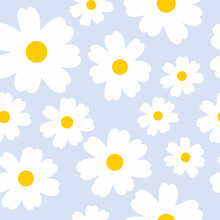 Soft Blue Seamless Background With Daisies