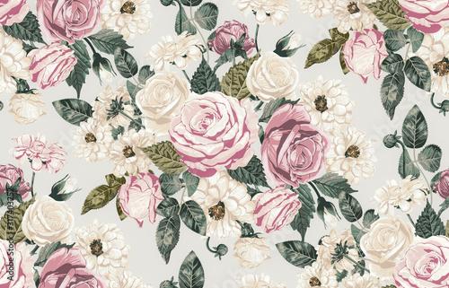 retro-rozowe-kwiaty-i-liscie