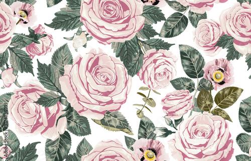 rozowe-retro-kwiaty-na-sciane