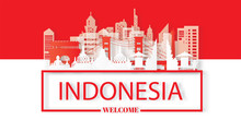 Travel Indonesia Postcard, Poster, Tour Advertising Of World Famous Landmarks In Paper Cut Style. Vectors Illustrations