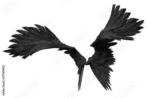 3D Rendered Fantasy Angel Wings on White Background - 3D Illustration Tapéta, Fotótapéta