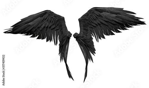 Obraz 3D Rendered Fantasy Angel Wings on White Background - 3D Illustration - fototapety do salonu