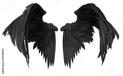 Obraz 3D Rendered Fantasy Angel Wings on White Background - 3D Illustration - fototapety do salonu