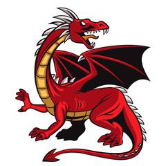 Fototapeta Zwierzęta Cartoon angry red dragon mascot