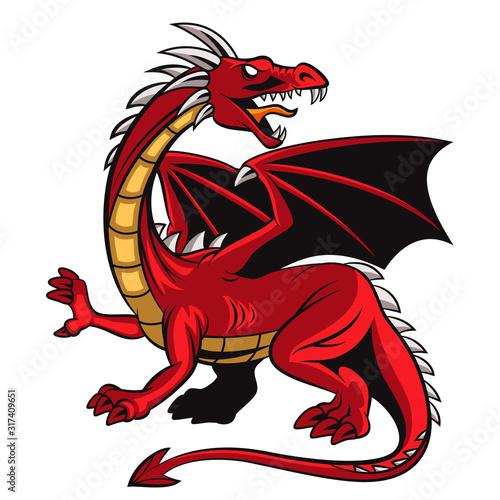 Cartoon angry red dragon mascot #317409651