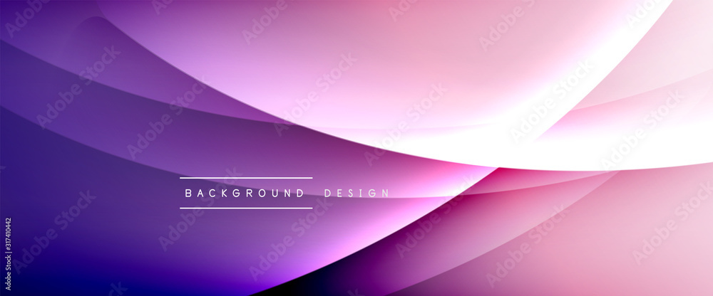 Fototapeta Wave liquid style lines with shadows and light on gradient background. Trendy simple fluid color gradient abstract background with dynamic straight shadow line effect