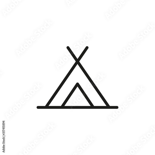 Simple tent line icon. Canvas Print