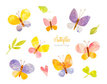 Cute Pastel Butterflies. Green Leaves. Handmade Watercolor Handpainted Paper Collage. Easter Paper Art And Craft Style. Cut Paper. Applique. Vintage