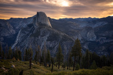 Spotlight On Half Dome, Yosemi...