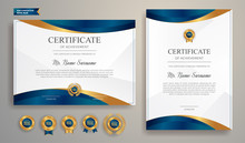 Premium Gold And Blue Certificate Of Appreciation Template, Clean Modern Design With Gold Badge