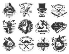Barbershop Retro Vector Icons....