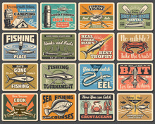 Fishing Sport, Camping And Tourism Retro Metal Signs. Vector Fishery Equipment, Fish And Camp Tent, Flounder And Cooking Cauldron. Boat Crossed Paddles, Eel And Salmon, Hooks And Baits, Rods