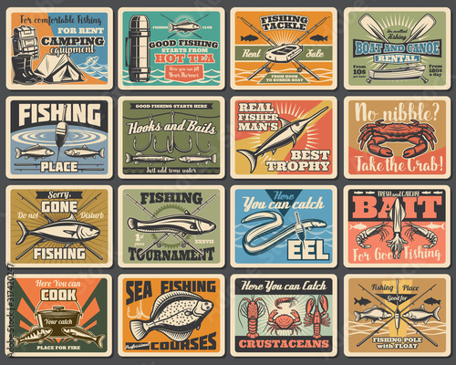 Fishing sport, camping and tourism retro metal signs Canvas Print