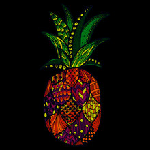 Bright Colorful Vector Zentangle Pineapple On A Black Background