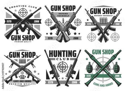 Foto Gun shop and hunting ammo, equipment store vector icons