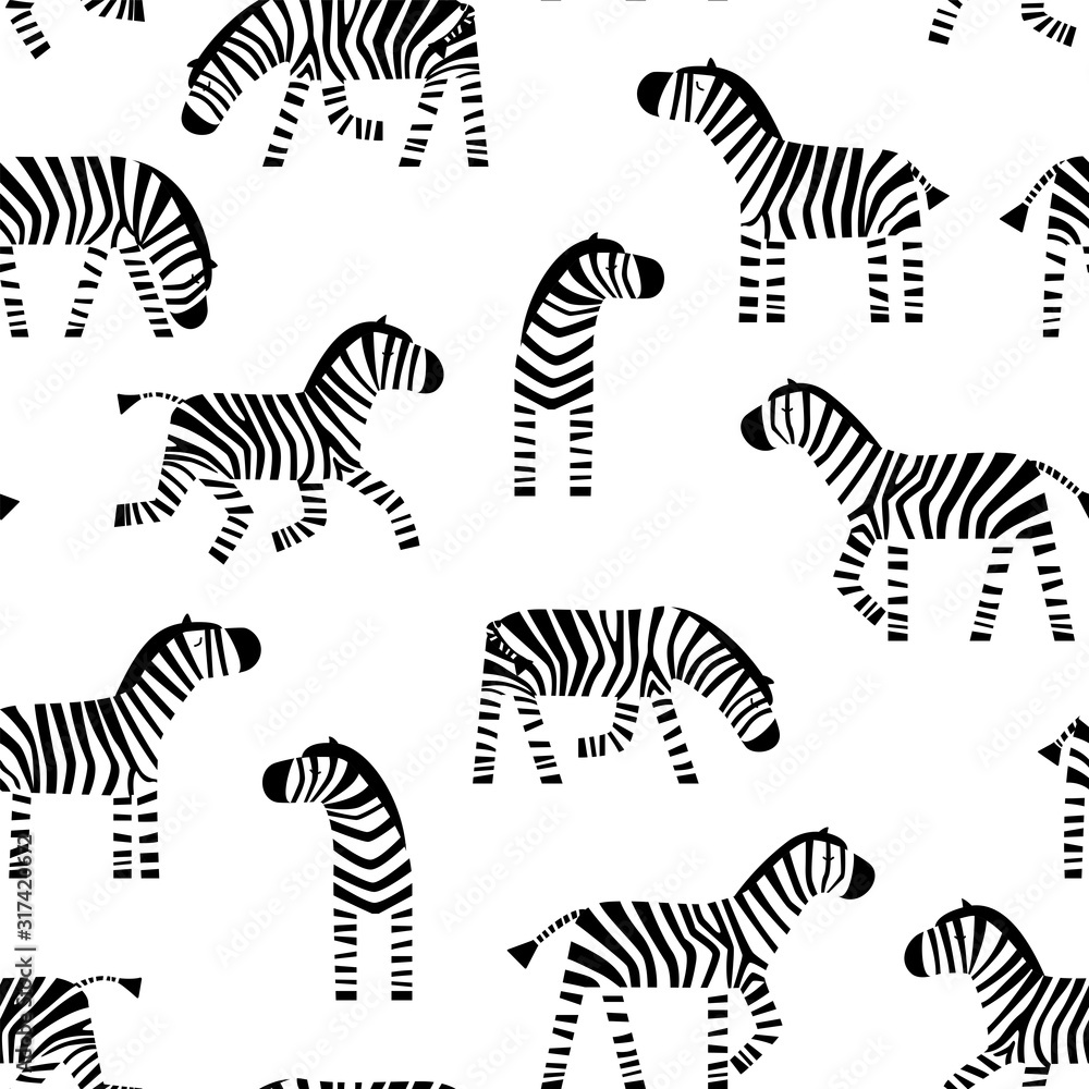 Fototapeta Funny Zebra seamless pattern. Cute cartoon Zebra on a white background. Vector illustration.