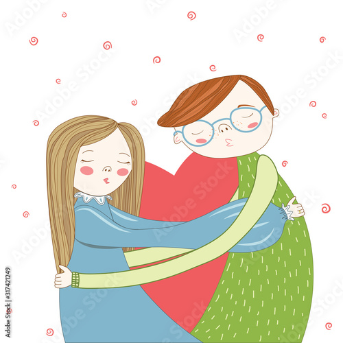 Valentine's Day. Boy and girl kissing and hugs. Wallpaper Mural