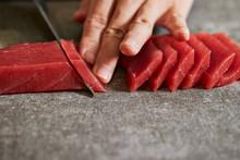 Slicing Tuna Saku Block With S...