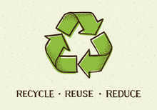 Sketch Doodle Recycle Reuse Reduce Symbol Isolated On Craft Paper Background. Recycle Icon Sign For Ecological. Hand-drawn Style Vector