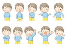 男の子 上半身ポーズセット表情 (茶線)