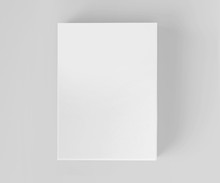 Blank White Software Box Mockup, Medium Size Cardboard Package Box, 3d Rendering Isolated On Light Gray Background, Ready For Your Design