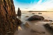 Long exposure shot of rock formations on the shore at Weymouth, Dorset, UK