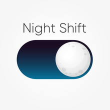 Modern Design For Blue Symbol Of Night Shift Switch Button With Moon Icon Isolated On White. Clip-art Illustration.