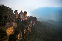 Three Sisters Rock Formation In Blue Mountains Australia