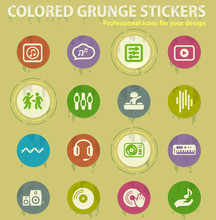Music Colored Grunge Icons